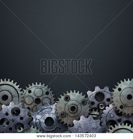 gear on the blue carbon metallic wall. 3d illustration. material design.