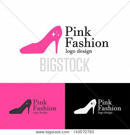 Logo design Pink fashion, vector art for web and print