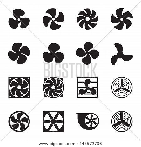 Fan icons isolated on a white background. Vector illustration