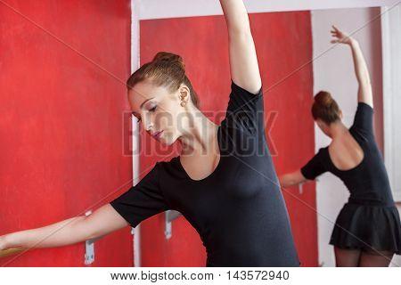 Ballerina Rehearsing In Dance Studio