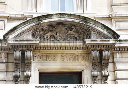 Entrance to Historic Bow street station convent garden London