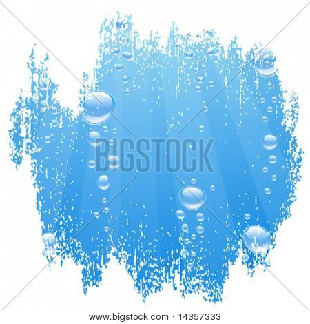 Blue water with bubbles. Vector illustration.
