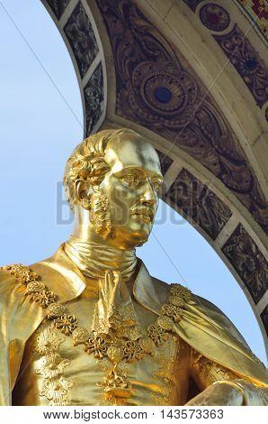Detail of Prince Albert from memorial near albert hall