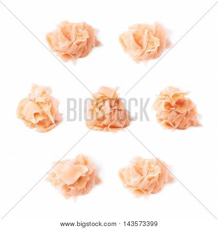 Pile of marinated ginger slices isolated over the white background, set of eight different foreshortenings