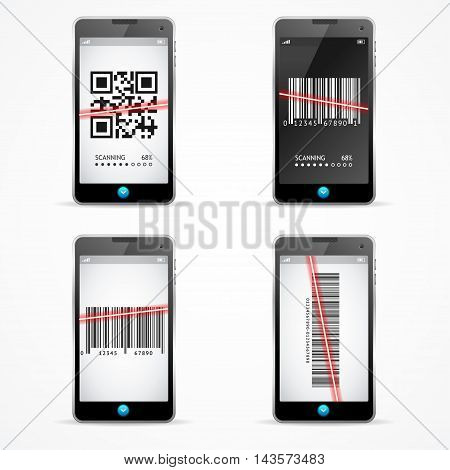 Barcode Scanner Mobile Set. Concept recognition Code. Vector illustration