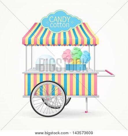 Cotton Candy Street Market Stall. Sale of Sweet Food. Vector illustration