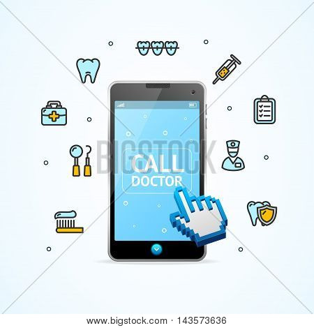 Doctor Call. Consultation Concept. Smart Phone and Medical Icons. Vector illustration