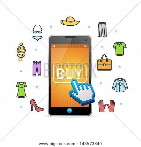 Online Shopping Clothing with Mobile App. Service Concept. Vector illustration