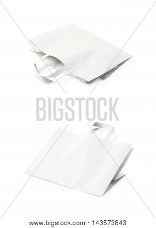 Folded paper bag isolated over the white background