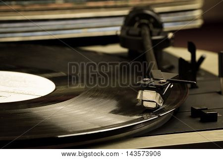 Old and vintage record player toned photo