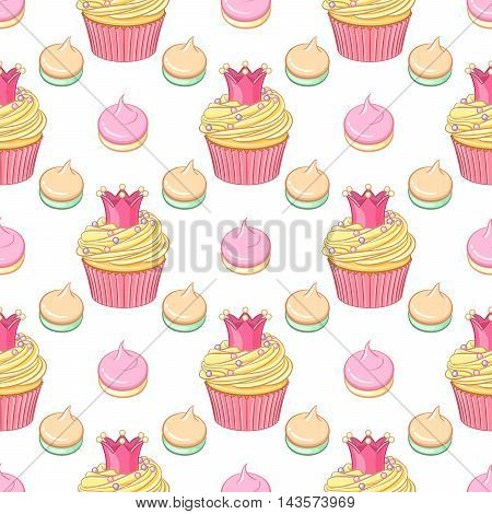 Cute pink princess crown cupcakes and meringues vector seamless pattern on white background.