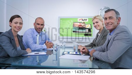 Business team looking at white screen against mobile application concepts