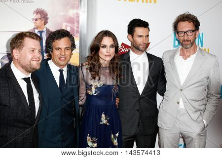 NEW YORK-JUNE 25: (L-R) James Corden, Mark Ruffalo, Keira Knightly, Adam Levine and John Carney attend the New York premiere of