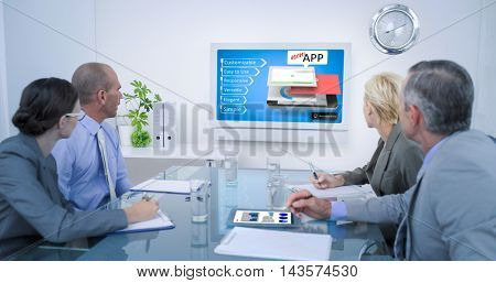 Business team looking at time clock against mobile application concepts