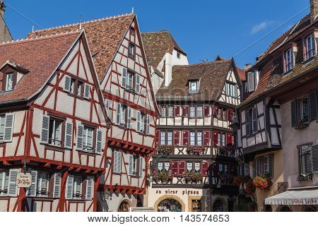 COLMAR FRANCE - 30TH JULY 2016: A closeup to colourful timber framed buildings in Colmar