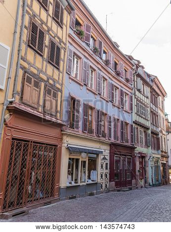COLMAR FRANCE - 30TH JULY 2016: A view of old buildings in Colmar Alsace during the day