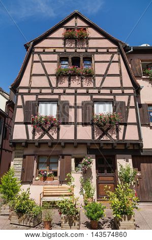 COLMAR FRANCE - 30TH JULY 2016: A closeup to the outside of buildings in Colmar showing the colourful design