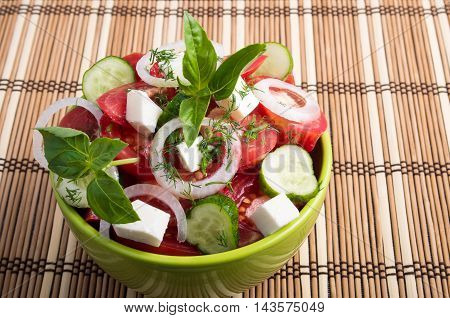 Green Bowl With Tasty And Wholesome Vegetarian Food