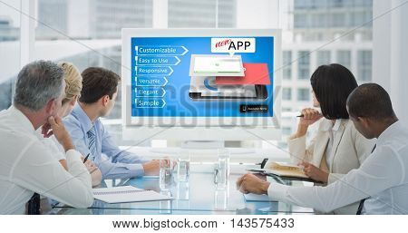 Business people looking at blank whiteboard in conference room against mobile application concepts