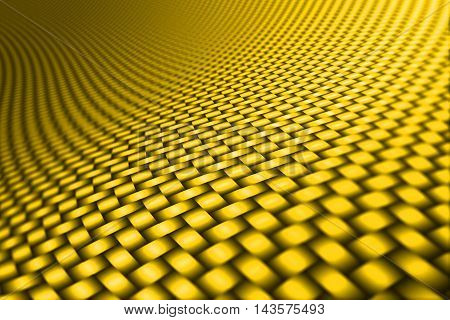 yellow curve carbon fiber on the black shadow. car accessories. background and texture. 3d illustration.