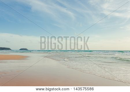 Beautiful white sand beach clear water white sand and sea Nature. at Kata Karon beach Phuket Islands