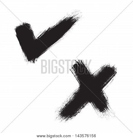 Black hand painted check mark and X mark. Vector illustration