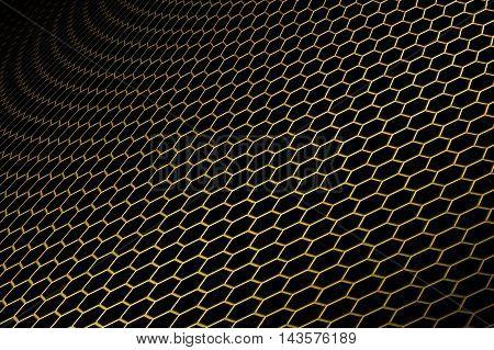 gold curve metallic mesh on black background. monochrome color. for web or printing background design. 3d illustration.