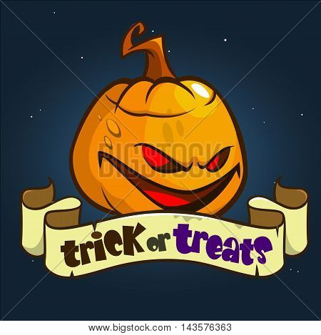 Halloween Design with Pumpkin and ribbon with title Trick or Treats. Vector halloween illustration isolated on dark background