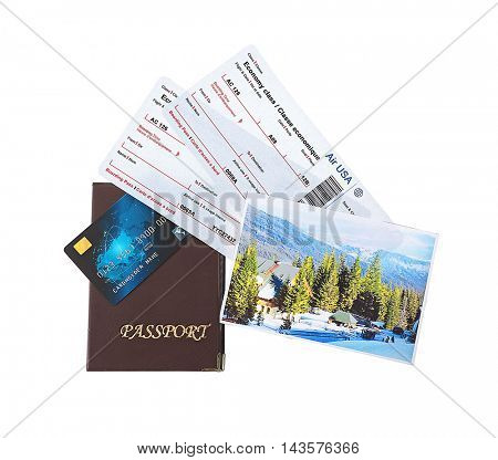 Credit card with tickets isolated on white