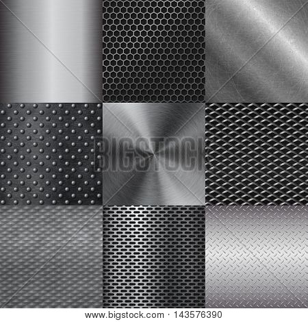 Pattern of metal texture background. Vector illustration metal texture pattern texture background. Abstract industrial design metal texture pattern silver surface stainless shiny plate.