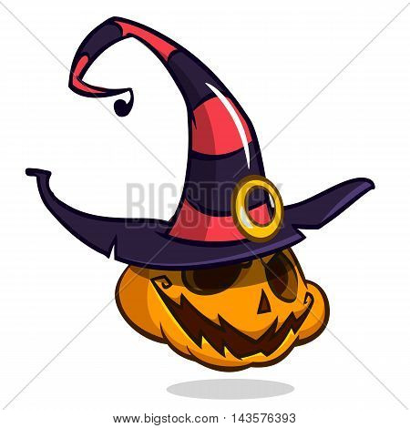 Jack-O-Lantern. Halloween pumpkin with smiling expression in witch hat. Vector illustration isolated on white background