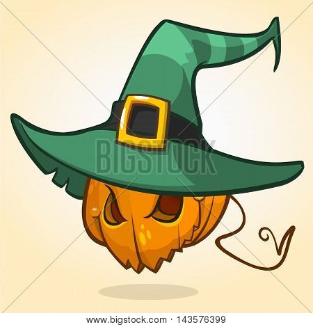 Jack-O-Lantern. Halloween pumpkin head in witch hat. Vector character isolated