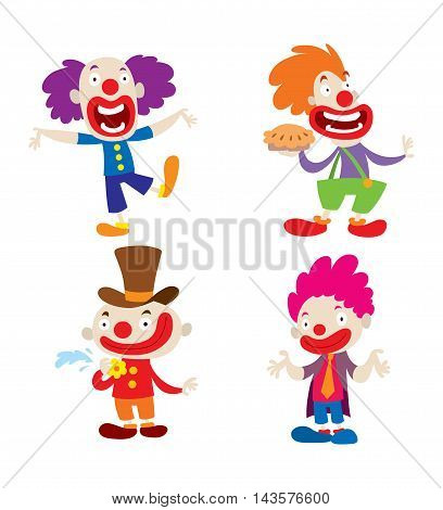 Set of clown character performing different fun activities vector cartoon illustrations.