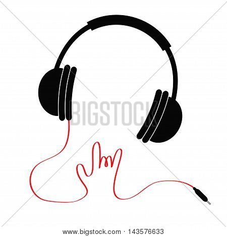 Black headphones with red cord in shape of hand. Rock and roll sign. Music card Icon Flat design style. White background. Vector illustration