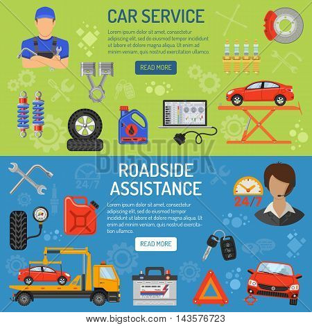 Car Service and Roadside Assistance Horizontal Banners with Flat Icons. Vector illustration.