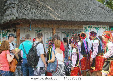 Velyki Sorochyntsi -August 20, 2016: Unidentified people walking on the Sorochintsy Fair in Velyki Sorochyntsi, Ukraine