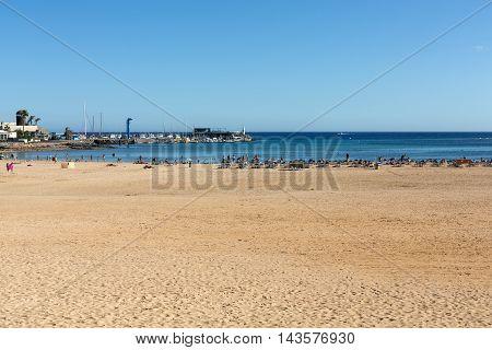 FUERTEVENTURA, SPAIN - SEPTEMBER 6, 2015: Beach in Caleta de Fuste Fuerteventura Spain