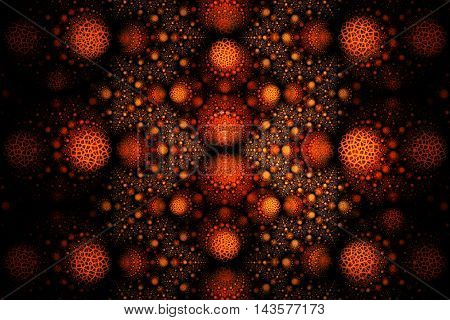 Abstract fantasy ornament on black background. Symmetrical pattern. Computer-generated fractal in orange yellow and brown colors. 3D rendering.