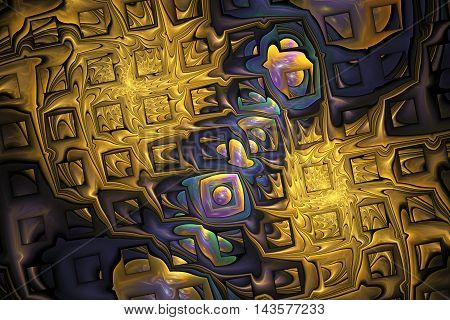 Abstract golden splashes and shining puzzles on black background. Fractal design in yellow blue green and purple colors. 3D rendering.