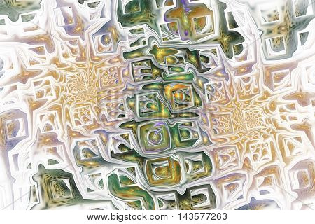 Abstract fantasy ornament on white background. Colorful fractal design in beige green and violet colors.