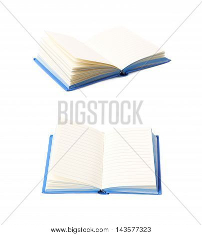 Blue copyspace note book isolated over the white background, set of two different foreshortenings