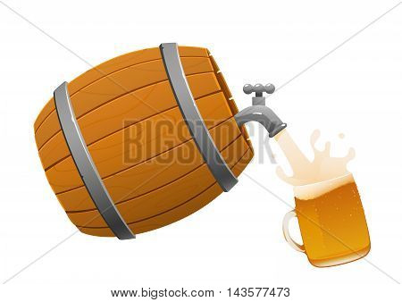brown wooden barrel and beer mug full isolated
