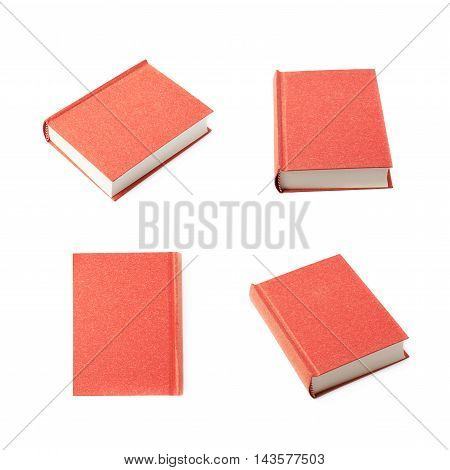 Red book isolated over the white background, set of four different foreshortenings