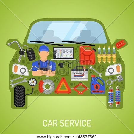 Car Service and Roadside Assistance Concept with Flat Icons. Vector illustration.