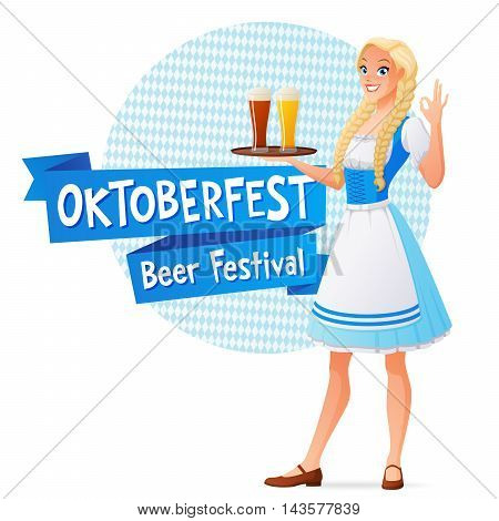 Oktoberfest banner. Smiling blond woman in traditional dress holding tray with light and dark beer and shows OK sign gesture. Cartoon style vector illustration isolated on white background.