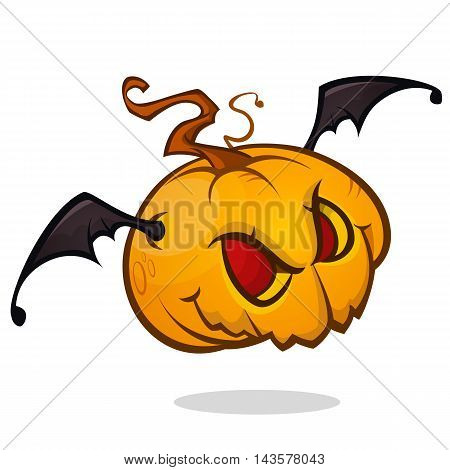 Vartoon pumpkin head with bat wings flying and screaming. Vector Halloween ilustration isolated