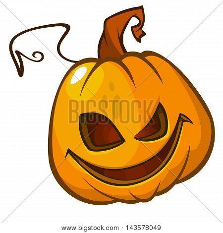 Halloween Pumpkin head isolated on white. Scary Jack. Vector illustration