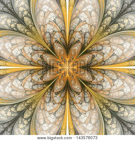 Abstract flower mandala on white background. Symmetrical pattern in yellow orange and dark green colors. Fantasy fractal design for postcards wallpapers or clothes.