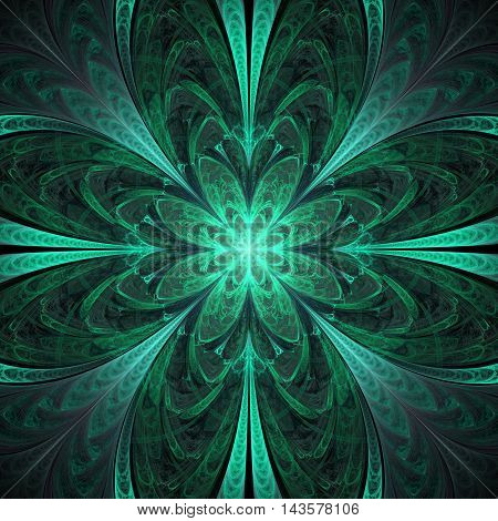 Abstract flower mandala on black background. Symmetrical pattern in emerald green colors.. Fantasy fractal design for postcards wallpapers or clothes. 3D rendering.