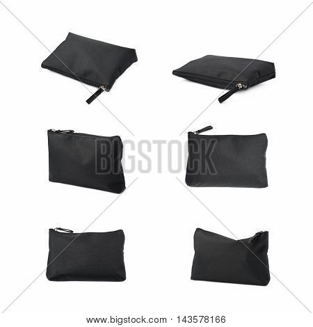 Black cosmetic bag with a zipper isolated over the white background, set of six different foreshortenings
